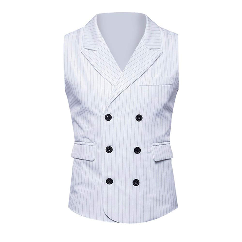 Fashion Formal Slim Fit Wedding Waistcoat MODOQO Mens Business Double-Breasted Suit Vest