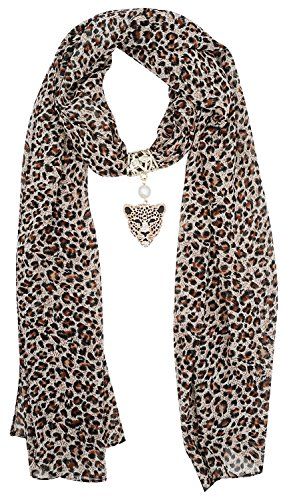 (Leopard Print Long Scarf with Pendant Jewelry Charm, Leopard, One)