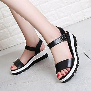 XY&GK Damen Sommer Sandalen Hang mit dicken Sohlen Muffin wasserdicht All-Match  Heel Sandalen Schuhe