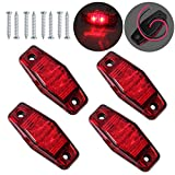 Justech 4 x 2 Diodes Red Side Marker Lights Side Fender Marker Assembly Waterproof LED Position Side Lamps 12V 24V for Trailer Van Caravan Truck Lorry Car Bus