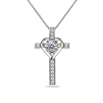 9545996a7504b Sterling Silver Clear Heart in Cross Pendant Necklace Made with Swarovski  Crystals