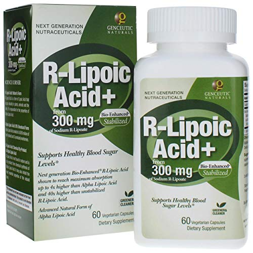 Genceutic Naturals R-Lipoic Acid Dietary Supplement Vegetarian Vegan Gluten Free Non GMO Ideal for Glucose Insulin Blood Level Maintain - 300mg (60 Capsules)