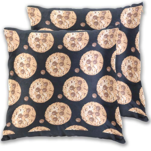 Chocolate Chip Cookie Fortune Throw Pillow Cover, Cotton Square Home Decor Pillowcases for Sofa Bedroom Car, Set of 2 (18''x18'')