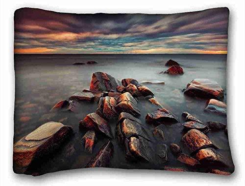 Generic Personalized ( Nature Sea Ocean Sea Sweden evening clouds sunset stones ) Pillowcase Standard Size 20
