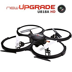 UDI U818A HD 2.4GHz 4CH 6 Axis Gyro Headless Mode RC Quadcopter Drone w/ HD 2MP Camera, Extra Battery and Return Home Function Black by MakingWay
