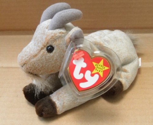 TY Beanie Babies Goatee the Goat Stuffed Animal Plush Toy - 6 inches long