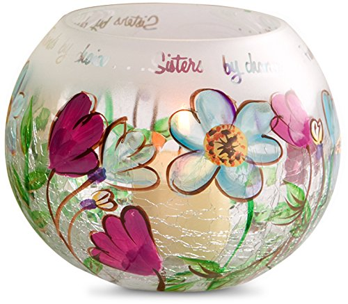 Pavilion Gift Company Fields of Joy - Sister by Chance, Friends by Choice Round Crackle Glass Floral Tealight Candle Holder