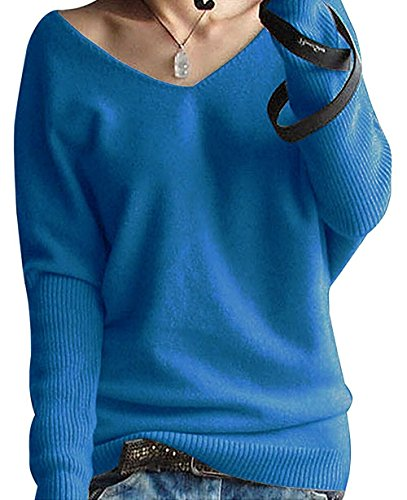 Pullover Hiver Blouse Tops Pull Manches Col En Sexy Tricot Chaud Blue Pulls Longues Sweater Femmes Cachemire Casual Eagsouni V 4x1aZwE6qp