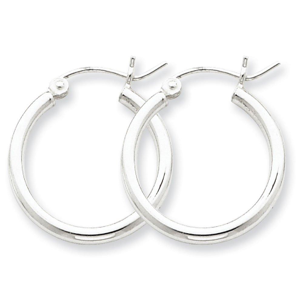 Designs by Nathan 925 Sterling Silver Classic Seamless Tube Hoop Earrings, Choice of Sizes (Slender 2mm x 15mm (about 5/8''))