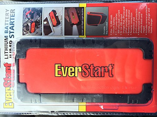 - Everstart Lithium Battery Jump Starter Max 12,000 mAh Multi-Function Smart Portable Car Jump Starter Powerbank for Smartphones & Digital Devices