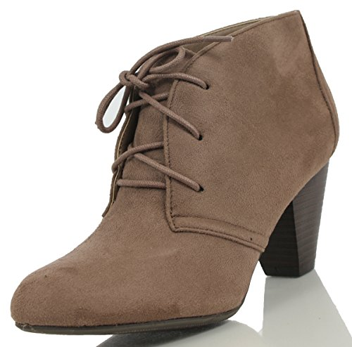 City Classified Womens Owena Lace Up Chunky High Heel Ankle Bootie