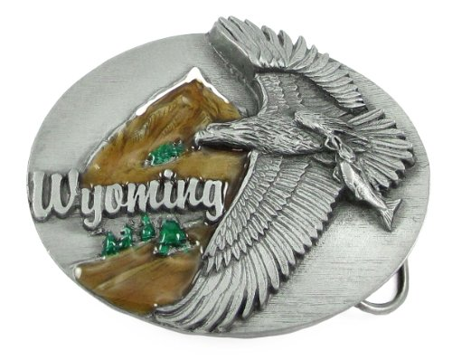 Pewter Belt Buckle - Wyoming Flying Eagle