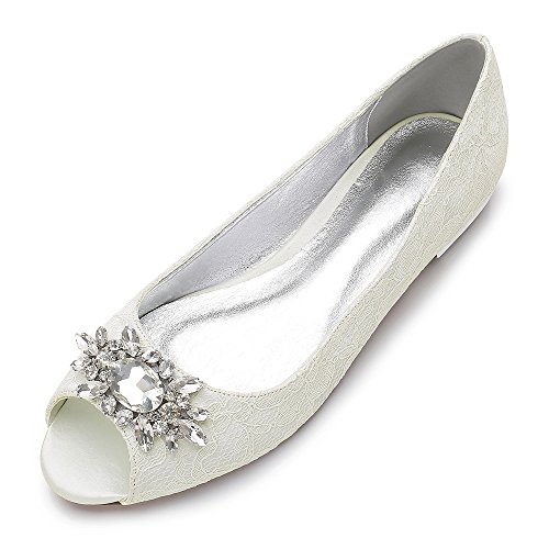 MarHermoso Womens Peep Toe Flats Elegant Ivory Lace Rhinestones Wedding Bridal Ballet ()
