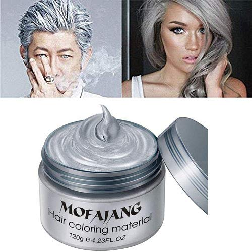 Temporary Hair Wax Hair Color Wax Instant Hairstyle Mud Cream 4.23OZ Natural Hair Coloring Wax Material Disposable Hair Styling for Cosplay, Party, Masquerade, Halloween. (Grey) -