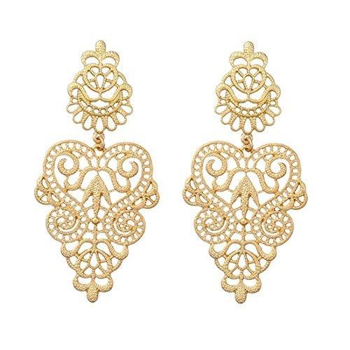 (Peony.T Women's Bohemian Filigree Chandelier Hollow Lace Pattern Statement Dangle Earrings in Gold Color (Round))