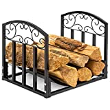 Best Choice Products Indoor Wrought Iron Firewood Fireplace Log Rack Holder Hearth Storage Tray w/Scroll Design - Black