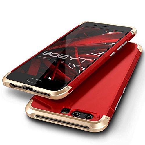 Hongfei Funda Cool Huawei P10, paragolpes de aluminio resistente delgado, cubierta completa de 360 grados, amortiguación, antiarañazos, antideslizante, antihuellas, Plata + negro Oro + rojo