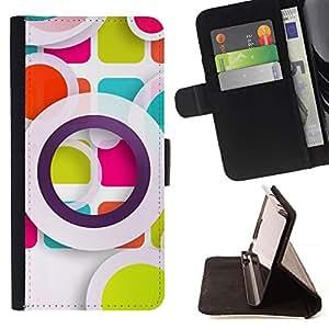 For HTC One A9 Case , Arte abstracto en colores pastel blanca- la tarjeta de Crédito Slots PU Funda de cuero Monedero caso cubierta de piel