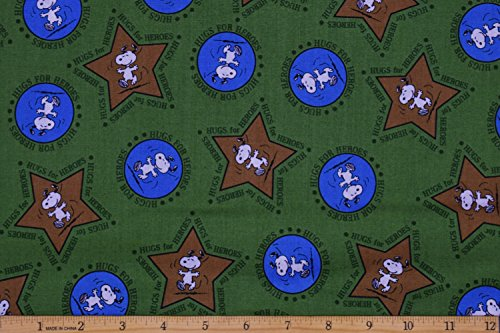 Peanuts Hugs For Heroes Military Snoopy Stars Green Fabric by the Yard ()
