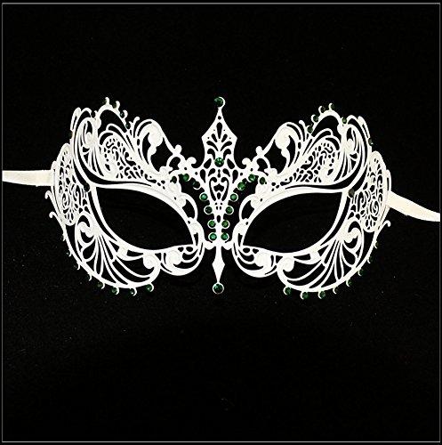 Luxury Mask Women's Laser Cut Metal Venetian Pretty Masquerade Mask, White/Green Stones, One Size ()