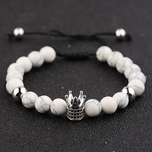 (Werrox Luxury Crown Natural Stone Matte Black Charm Mens Copper Bead Fashion Bracelets | Model BRCLT - 2932 |)