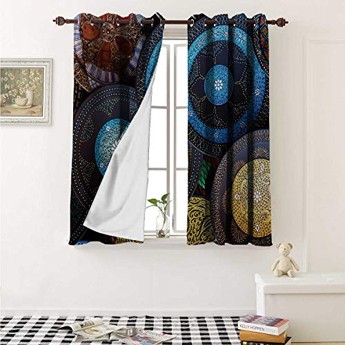 shenglv Moroccan Blackout Draperies for Bedroom Handcrafts Shot at The Market in Morocco Antiquity Tradition Old Touristic Places Curtains Kitchen Valance W72 x L63 Inch ()