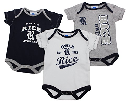 Outerstuff Rice Owls Baby Clothing, University 3 Piece Creeper Apparel Set