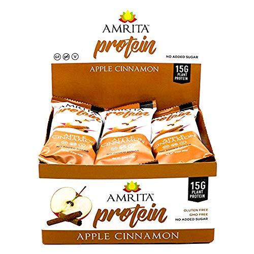 Amrita High Protein Nutrition Bar Apple Cinnamon, 15g Protein, No Sugar Added, 2.12 Oz Bar, 12 Pack