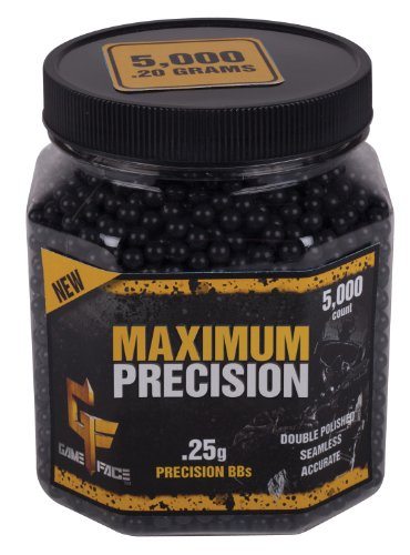 Precision Airsoft Bb (GameFace 5000 Count Maximum Precision Black Airsoft BBs, 0.25gm)