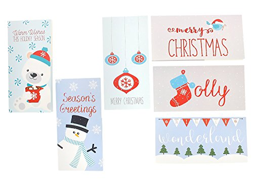 Christmas Greeting Cards - 36 Pack Assorted Winter Holiday Christmas Cards - 6 Winter Holiday Designs, Ornaments, Polar Bears, Stockings, Snowflakes, Merry Christmas 4 x 8 Envelopes Included by Juvale Photo #8
