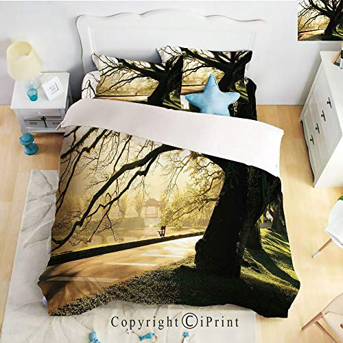 Homenon Bedding 4 Piece Sheet,Taiping Lake Gardens Malaysia Serene Tranquil Woodland Idyllic View,Seal Brown Green Light Yellow,Full Size,Wrinkle,Fade Resistant