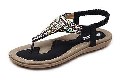 Easemax Damen Bohemia Strass Clip Toe Flach ohne Verschluss Sommer Sandalen Weiß 37 EU voSiYV3