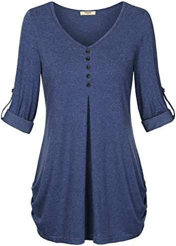 Timeson Women's Rolled Up Sleeve V-Neck Henley T-Shirt Blouse Top