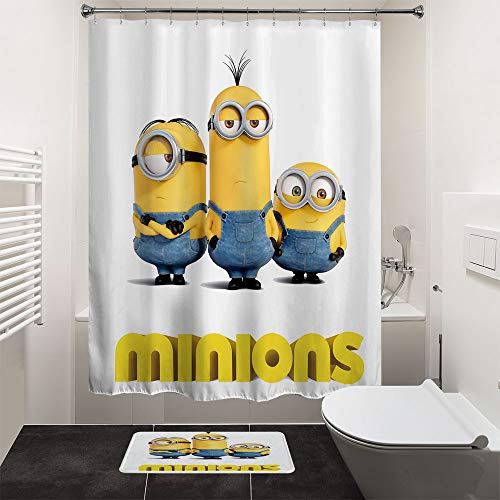 HIYOO Bathroom Art Decorative Polyester Fabric Waterproof Shower Curtain, Popular Characters Theme Design, High-Definition Digital Print, Hooks Included 60