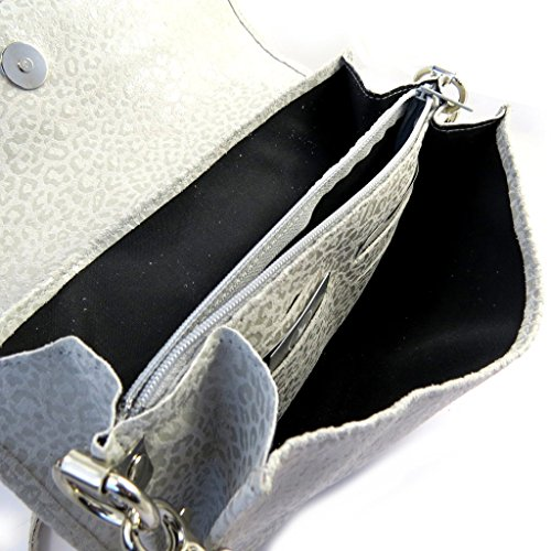 Frandi [M3577] - Sac pochette cuir 'Frandi' gris souris (2 soufflets) Léopard