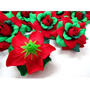 "(100) Silk Christmas Roses Red Green Flower Heads - 1.75"" - Artificial Flowers Heads Fabric Floral Supplies Wholesale Lot for Wedding Flowers Accessories Make Bridal Hair Clips Headbands Dress 3"