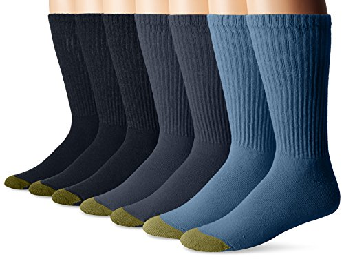 Gold Toe Men's Cushioned Cotton Crew 7-Pack, Denim, Sock Size:10-13/Shoe Size: ()