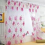 dark grey curtains ikea LtrottedJ 1 PCS Vines Leaves Tulle Door Window Curtain ,Drape Panel Sheer Scarf Valances (Pink)