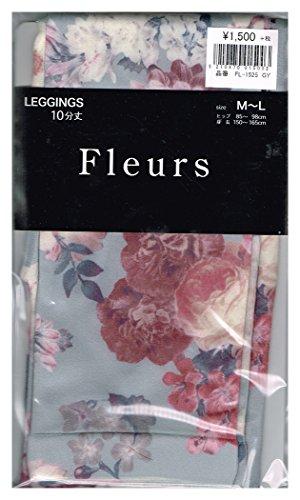 チャーミング豆ここに(フルール) Fleurs 10分丈 デルフローズ 花柄 プリント レギンス M-L