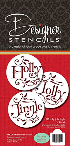 Holly, Jolly and Jingle Cookie Stencil Set C978 by Designer Stencils
