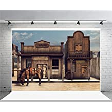 Laeacco Vinyl 7x5ft Photography Background Western Banic Gray Horse Cabin Outmoded Backdrops Portraits Shooting Video Studio Props 2.2x1.5m Colorful Wild West Scenery Front Bank 3D illustration