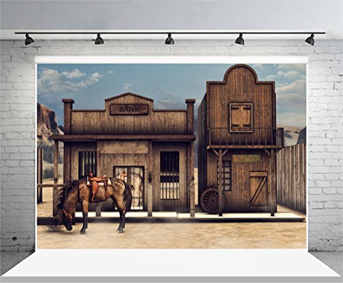 Laeacco Vinyl 7X5ft Photography Background Western Banic Gray Horse Cabin Outmoded Backdrops Portraits Shooting Video Studio Props 2 2X1 5M Colorful Wild West Scenery Front Bank 3D Illustration