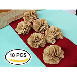 3 Inches Burlap Rustic Flowers Rose (18 Pcs) Chic Wedding Decor Craft Country Natural 79