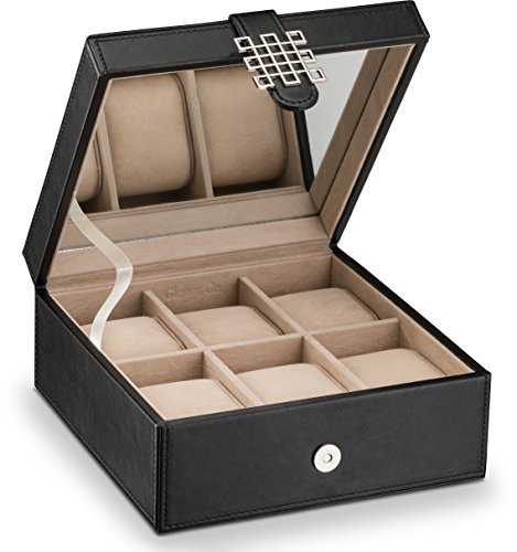 fa25f29e8 Glenor Co Watch Box for Women - 6 Slot Classic Watch Case Display Organizer,  with Modern Buckle Closure for Womens Jewelry ...