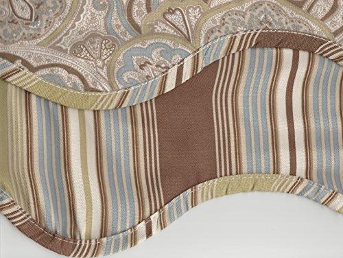Waverly Paddock Shawl Paisley Stripe Scallop Window Valance - Pearl