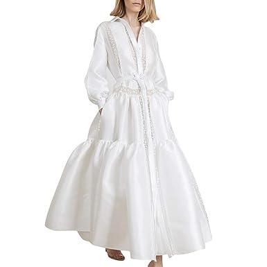 Vestido Formal Mujer Blanco De Manga Larga con Solapa Vendaje De ...