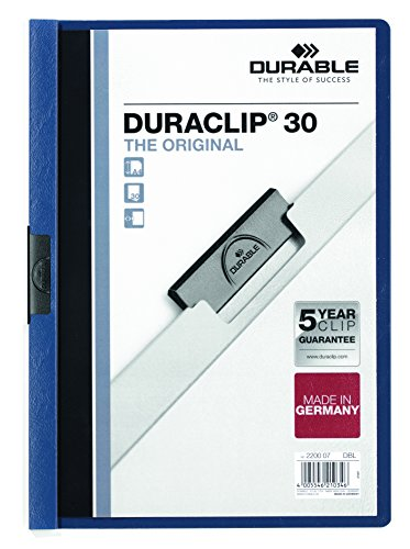 DURABLE Vinyl DURACLIP Report Cover, Letter, Holds up to 30 Pages, Clear/Dark Blue, 25 per box (220307)