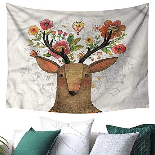 Anyangeight Deer Tapestry Wall Hanging 3D Printing Elk Portrait Antlers Balloons 80W x 60L Inch,Home Decorations for Living Room Bedroom (Portrait Elk)