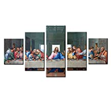 Large The Last Supper Canvas Wall Art Painting Prints for Living Room Decoration in 5 Pieces,Stretched-Ready to Hang (12x16inchx2+12x24inchx2+12x32inch)