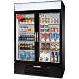 Beverage-Air MMR49-1-B-LED MarketMax 52 Two Section Glass Door Reach-In Merchandiser Refrigerator with LED Lighting 49 cu.ft. Capacity Black Exterior and Bottom Mounted